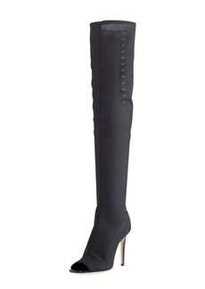 Jimmy Choo Desai Peep-Toe Mesh Knee Boot