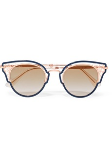 Dhelia cat-eye rose gold-tone and acetate sunglasses