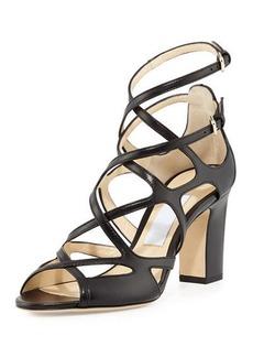 Jimmy Choo Dillan Leather Block-Heel Sandal