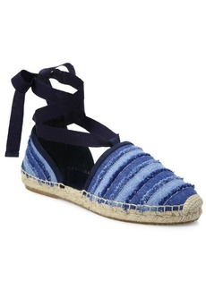 Jimmy Choo Dolphin Denim Lace-Up Espadrille Flats