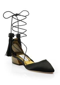 Jimmy Choo Duchess 30 Tassel Lace-Up d'Orsay Block Heel Pumps