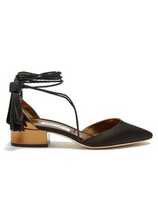 Jimmy Choo Duchess satin and leather sandals