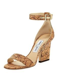 Jimmy Choo Edina Etched Cork Ankle-Wrap Sandal