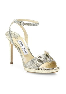 Jimmy Choo Electra 100 Crystal-Button Glitter Ankle-Strap Sandals