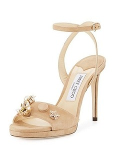 Jimmy Choo Electra Suede Button 100mm Sandal