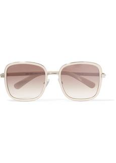Elva square-frame acetate and glittered suede sunglasses