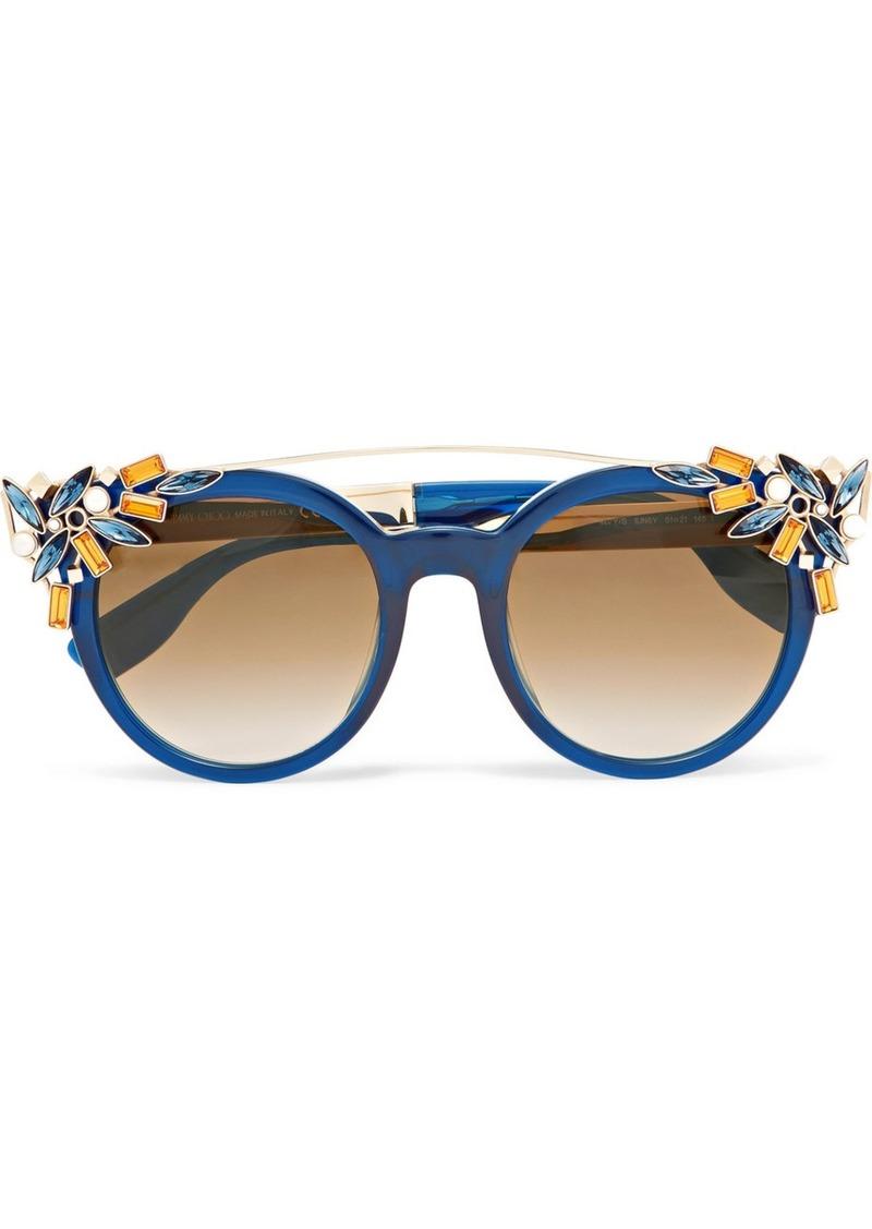 e9acb1be286 SALE! Jimmy Choo Embellished cat-eye acetate sunglasses