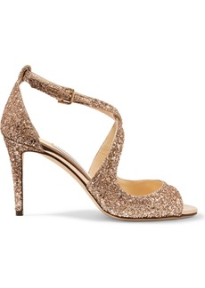 Jimmy Choo Emily 85 glittered leather sandals