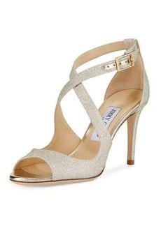 Jimmy Choo Emily Glitter Crisscross 85mm Sandal