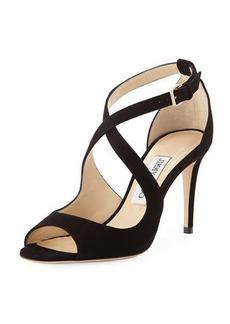 Jimmy Choo Emily Suede Crisscross 85mm Sandals