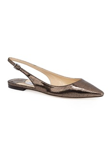Jimmy Choo Erin Metallic Lizard-Print Leather Slingback Flats