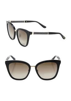 Fabry 53MM Mirrored Glitter-Trim Square Sunglasses