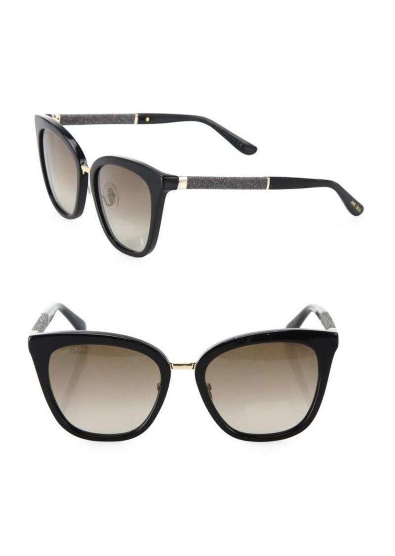 cc2e07c6e4 Jimmy Choo Fabry 53MM Mirrored Glitter-Trim Square Sunglasses