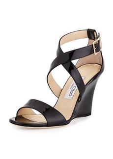 Jimmy Choo Fearne Patent Crisscross Wedge Sandal