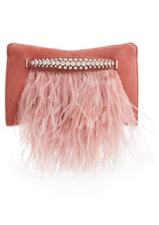 Jimmy Choo Feather Leather Clutch with Crystal Bracelet Handle