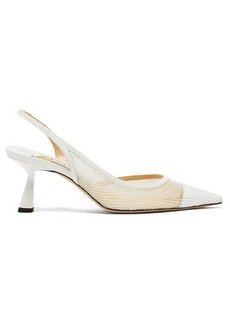 Jimmy Choo Fetto 65 mesh and leather slingback pumps
