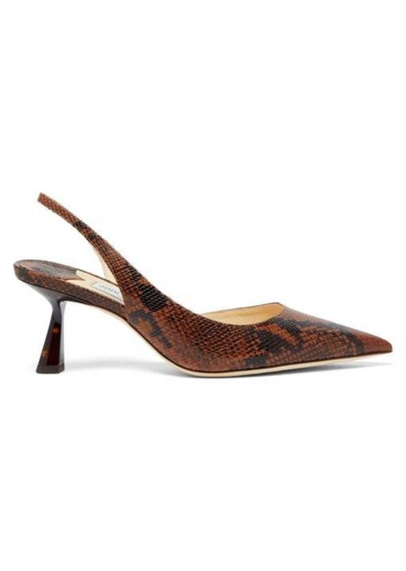 Jimmy Choo Fetto 65 python-effect leather slingback pumps