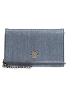 Jimmy Choo Florence Metallic Denim Glitter Clutch