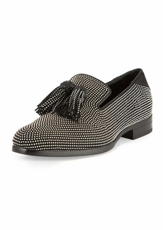 Jimmy Choo Foxley Micro-Stud Leather Tassel Loafer