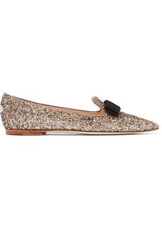 Jimmy Choo Gala glittered leather point-toe flats