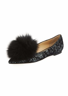 Jimmy Choo Gale Fur-Trim Glitter Flat