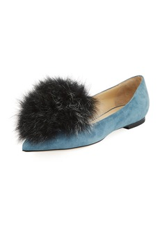 Jimmy Choo Gale Fur-Trim Suede Flat