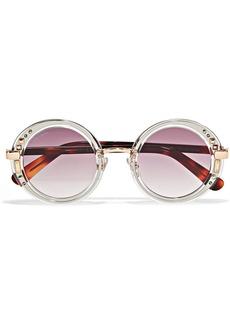 Gem Swarovski crystal-embellished round-frame acetate and gold-tone sunglasses