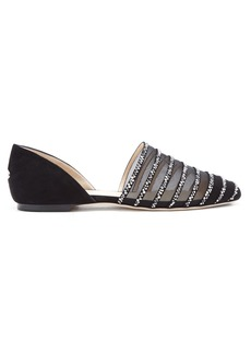 Jimmy Choo Globe crystal-embellished mesh and suede flats