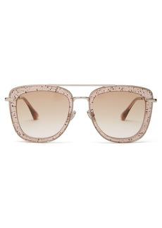 Jimmy Choo Glossy glitter-acetate aviator sunglasses