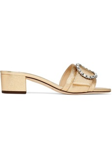 Jimmy Choo Granger 35 crystal-embellished metallic textured-leather slides