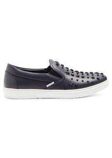 Jimmy Choo Grove star-embellished low-top leather trainers