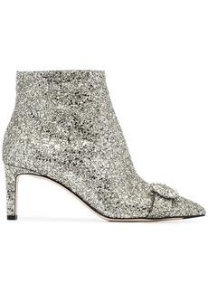 Jimmy Choo Silver Hanover 65 glitter boots - Metallic
