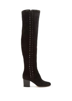 Jimmy Choo Harlem stud-embellished suede over-the-knee boots