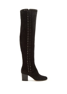 Jimmy Choo Harlem stud-embellished suede over-the-knee boots