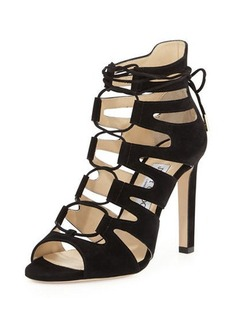 Jimmy Choo Hitch Caged Suede 100mm Sandal