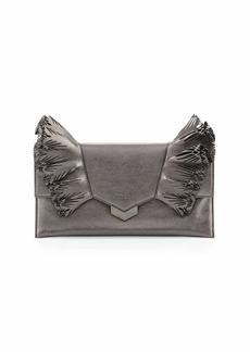 Jimmy Choo Isabella Laser-Cut Ruffled Clutch Bag