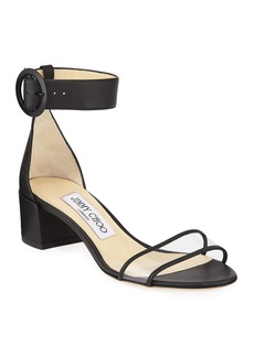 Jimmy Choo Jaimie Leather and PVC Block-Heel Sandals