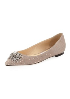 Jimmy Choo Joan Glitter Mesh Flat with Firework Crystal