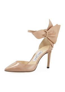Jimmy Choo Kathrine Patent Pumps with Bow  Pink