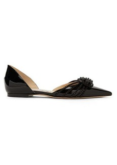 Jimmy Choo Katience embellished patent-leather d'Orsay flats