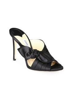 Jimmy Choo Keely Knotted Satin Crisscross Mules