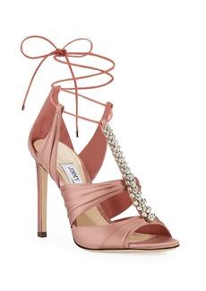 Jimmy Choo Kenny Satin Crystal Sandals