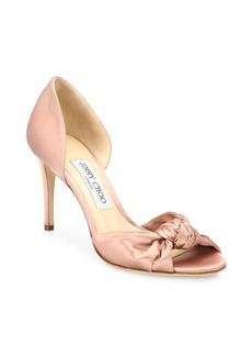 Jimmy Choo Kitty 85 Knotted Satin d'Orsay Pumps