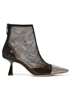 Jimmy Choo Kix 65 crystal-embellished mesh ankle boots