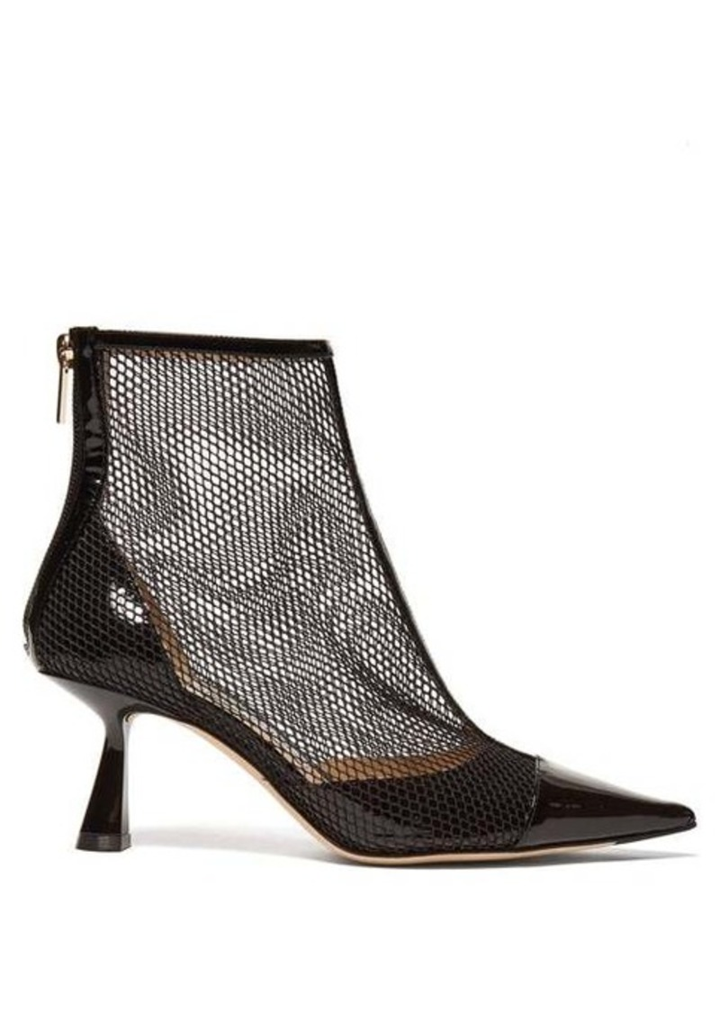 Jimmy Choo Kix 65 mesh and patent-leather ankle boots