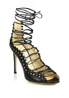 Jimmy Choo Koko 100 Leather Lace-Up Sandals