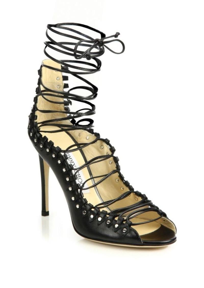 65a355b9dd2d Jimmy Choo Jimmy Choo Koko 100 Leather Lace-Up Sandals