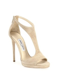 Jimmy Choo Lana 100 Suede T-Strap Sandals