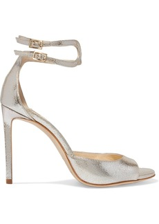 Jimmy Choo Lane 100 metallic cracked-leather sandals