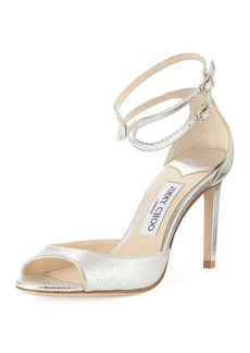 Jimmy Choo Lane Metallic Leather Ankle-Wrap Sandal